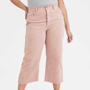 American Eagle Wide Leg Crop High Rise Pink Jeans